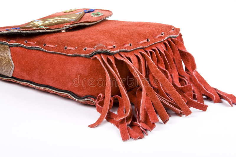 Red Suede Bag With Fringe Royalty Free Stock Photography