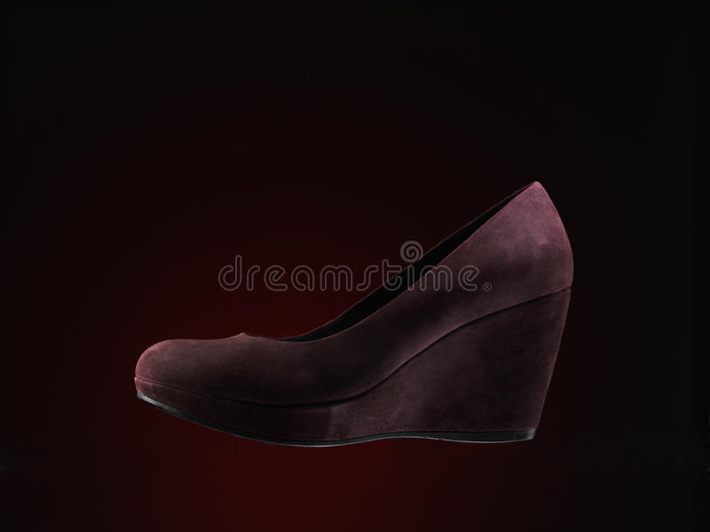 Red suede shoes stock photo
