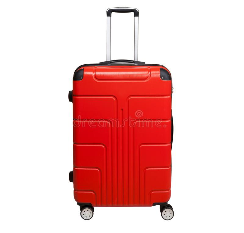 Red suitcase isolated on white background. royalty free stock photo