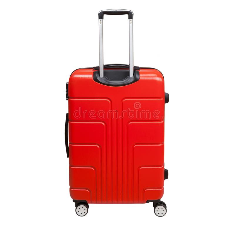 Red suitcase isolated on white background. royalty free stock images