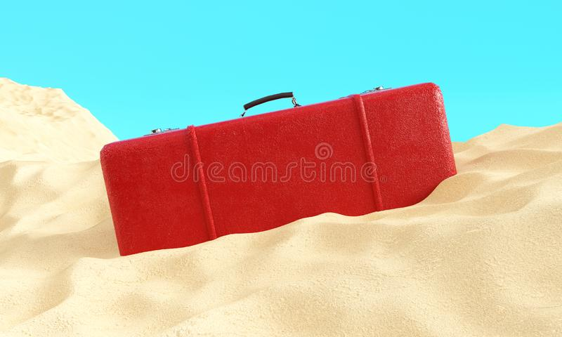 Red suitcase in the sand 3d render against a blue sky, travel concept stock illustration