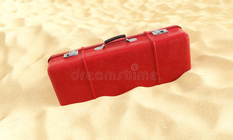Red suitcase in the sand 3d render against a blue sky, travel concept vector illustration