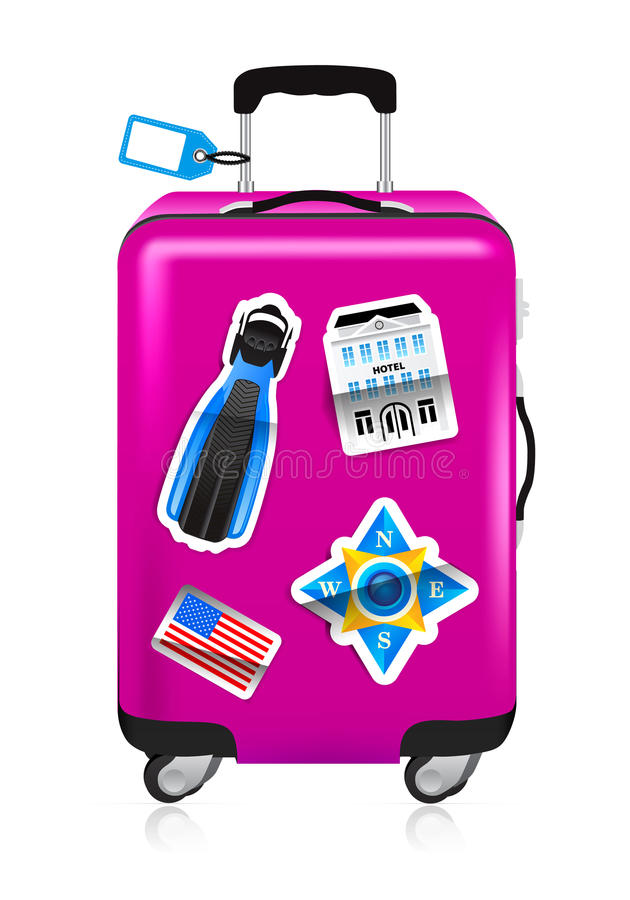 Red suitcase for travel with stickers vector illustration