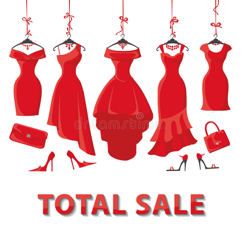 Red summer dresses and accessories set.Sale vector illustration