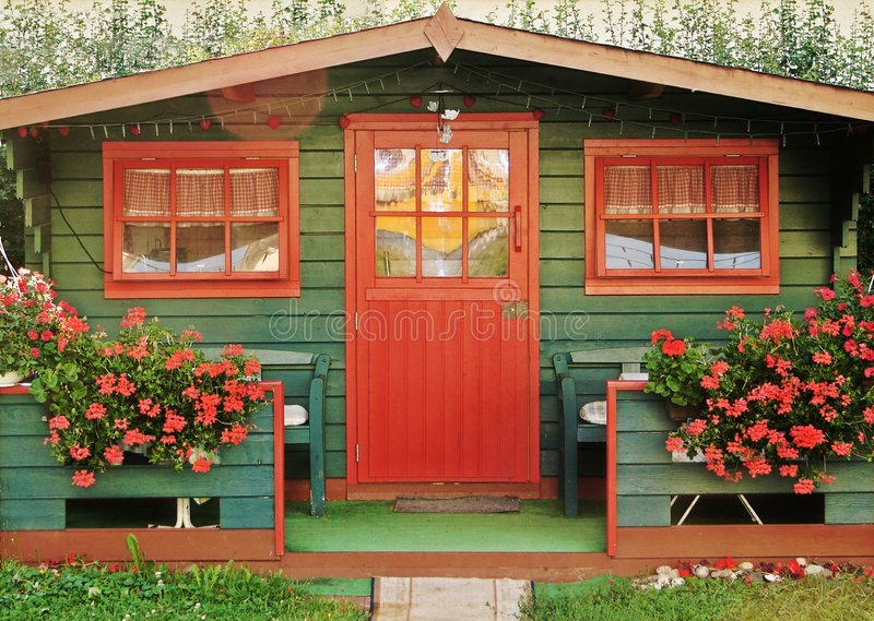 Download Red summerhouse stock image. Image of building, table, spring - 202163