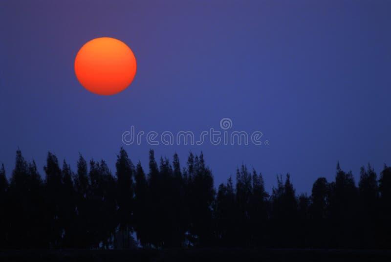 Red sun on blue sky stock image