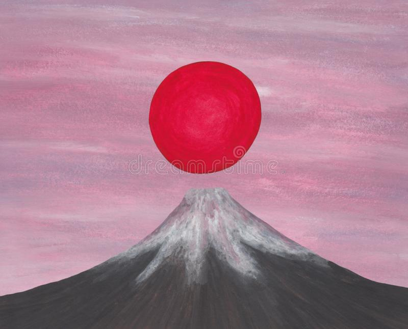 Red sun rising above japan fuji mountain, from my self created image series `The Spirit of Asia II, 2018` royalty free illustration