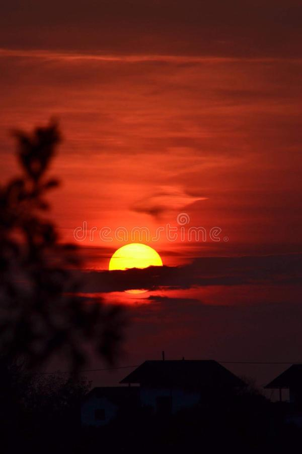 Red sun royalty free stock photography