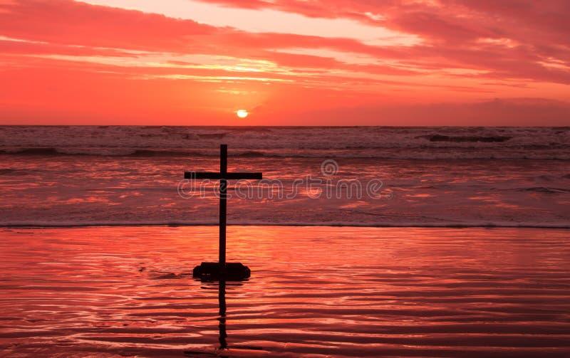 Red Sundown Cross Royalty Free Stock Photo