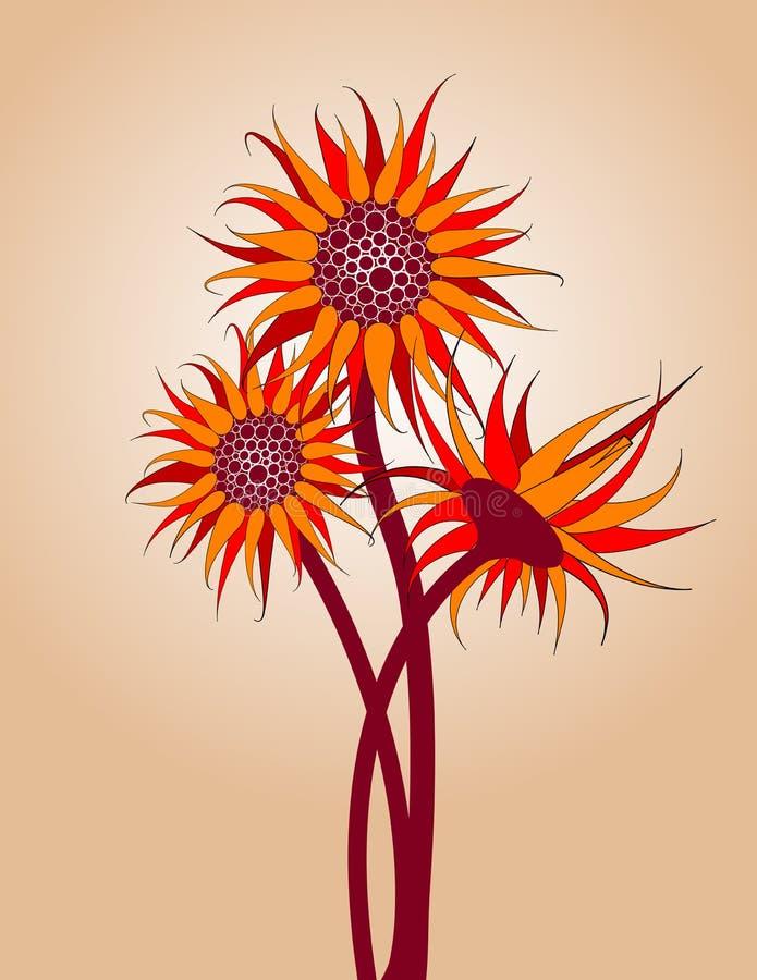 Red Sunflowers. Light mocha gradient background, vector illustration vector illustration