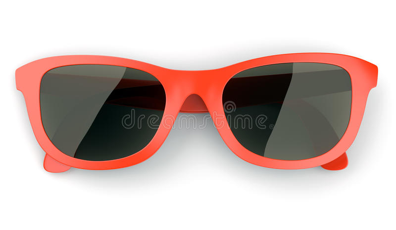 Red sunglasses isolated on white royalty free illustration