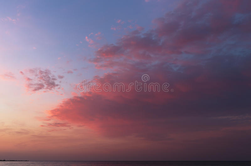 Red sunrise on Black Sea. Horizon and sea royalty free stock images