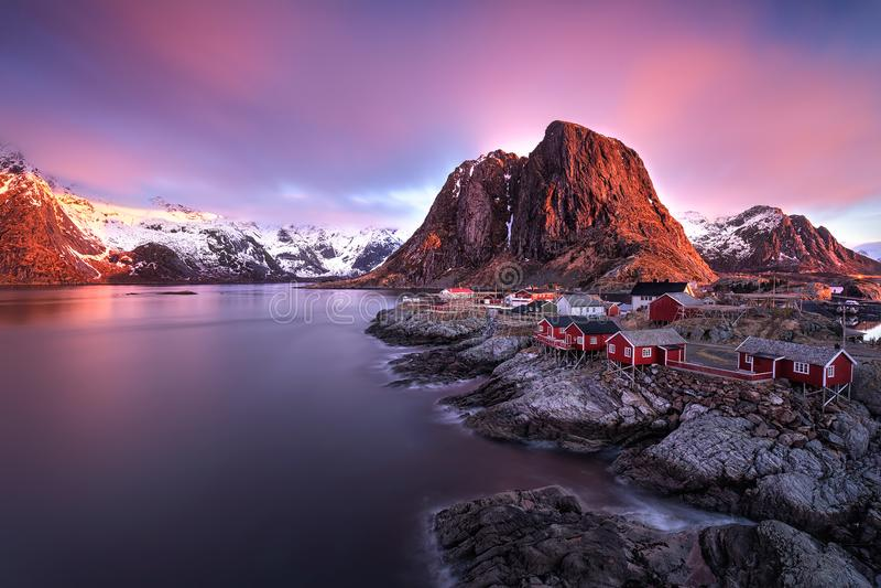 Red sunrise at Lofoten stock photography