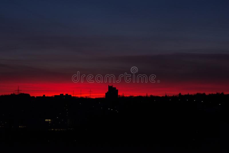 Red sunrise in Würzburg royalty free stock images