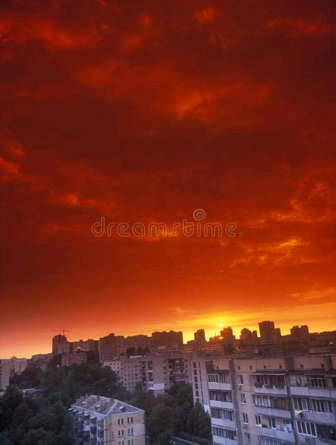 Download Red sunset. stock image. Image of cityscape, heaven, residential - 27330413