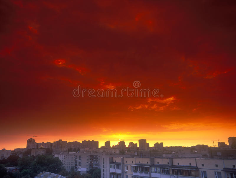 Download Red sunset. stock photo. Image of dark, cloud, space - 29478930