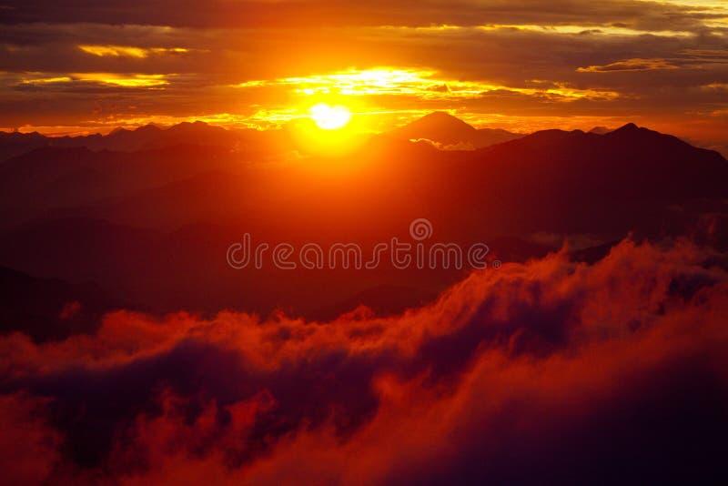 Red Sunset Himalayas Mountain Nepal stock photos