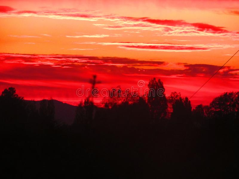 Red sunset landscape in Chilean countryside. Nature photography royalty free stock image
