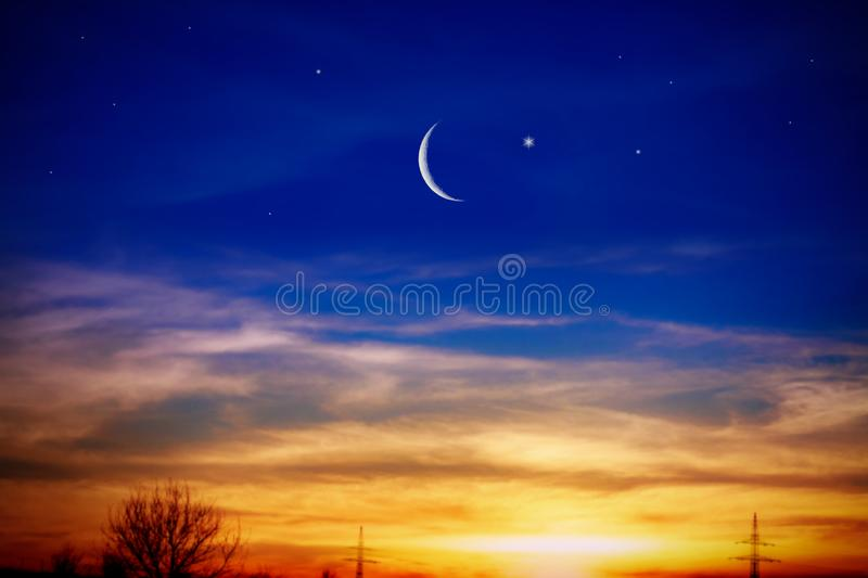 Mubarak background . Red sunset and moon . royalty free stock images