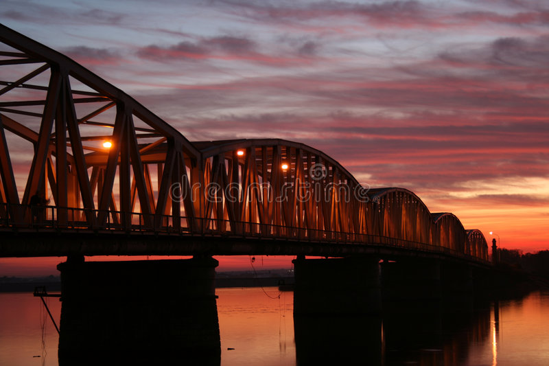 Download Red sunset over the bridge stock photo. Image of long - 7151056