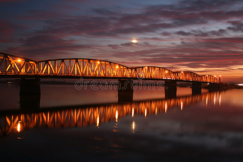 Download Red sunset over the bridge stock photo. Image of beautiful - 7160620