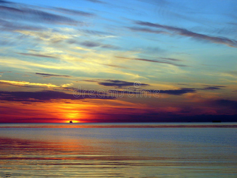 Red sunset over sea stock images