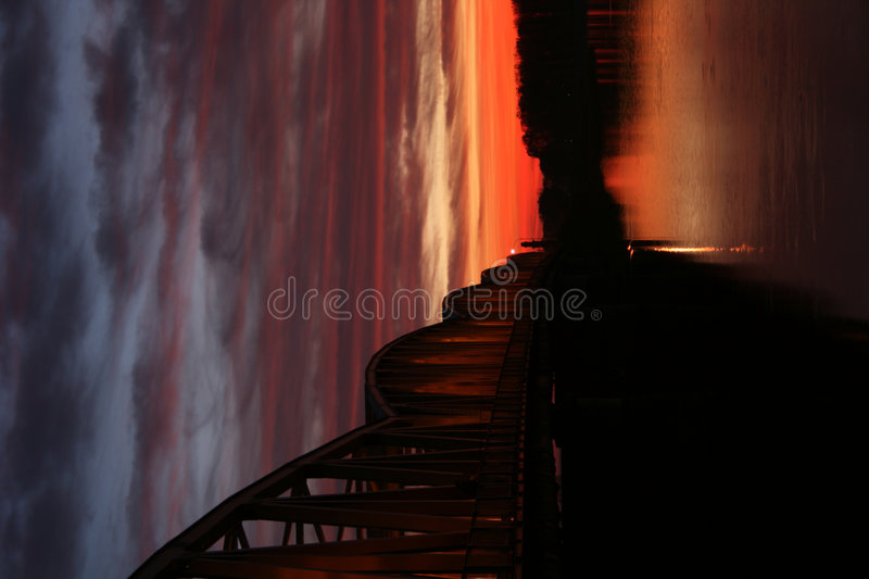 Free Red Sunset Over The Bridge Stock Image - 7151051