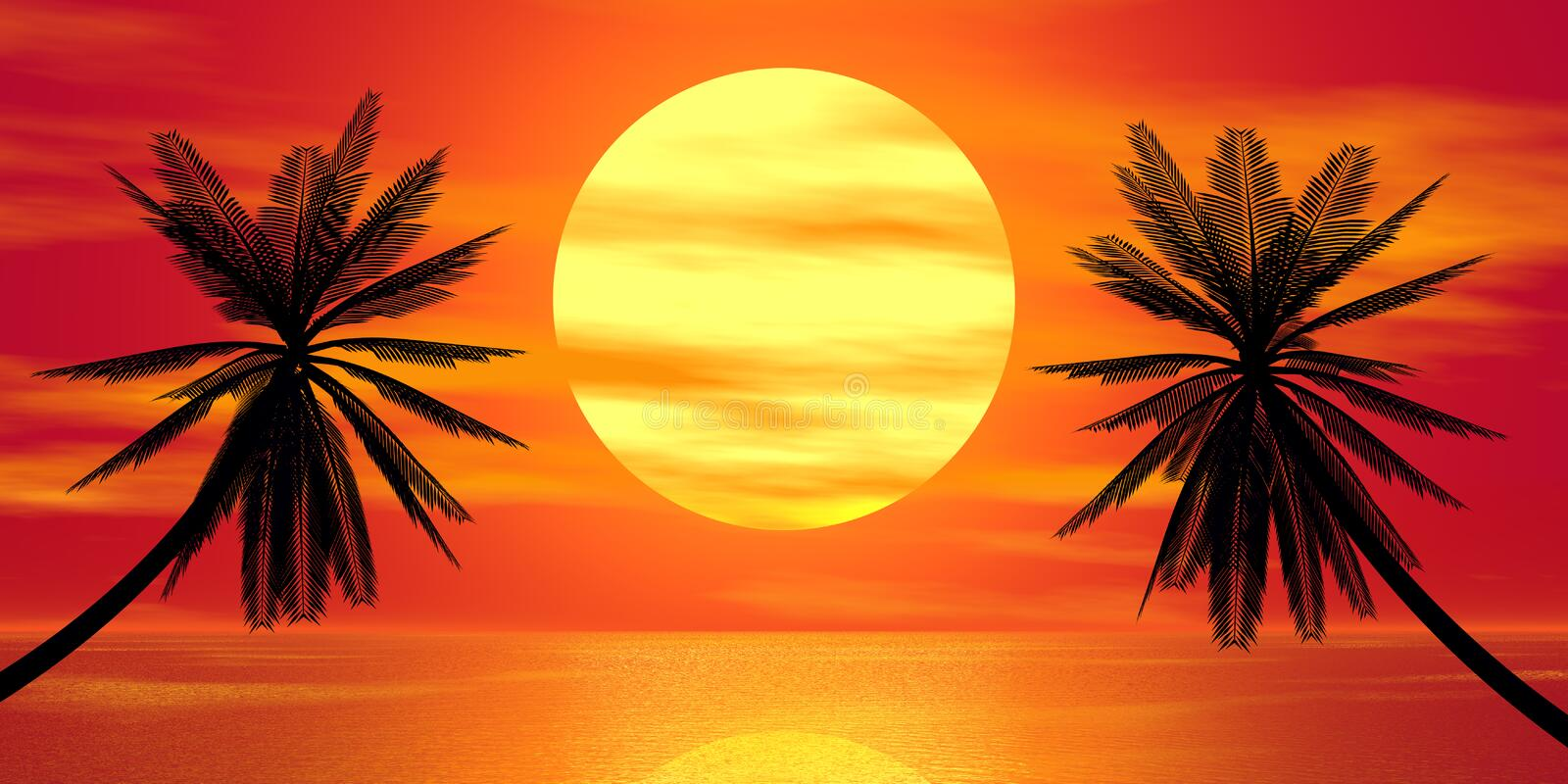 Red sunset and palm royalty free illustration