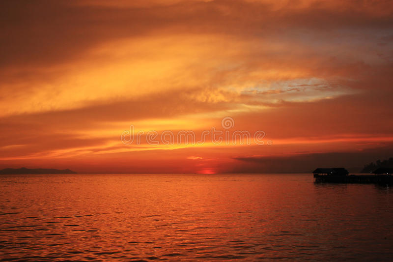 Red Sunset. Spotted this on my road trip in Sibolga, Indonesia royalty free stock image