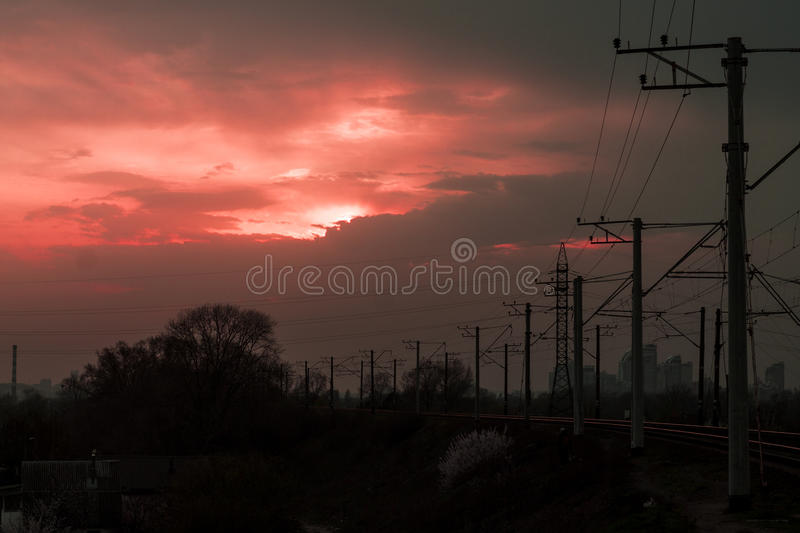 Red Sunset. With upcoming night clouds stock photos