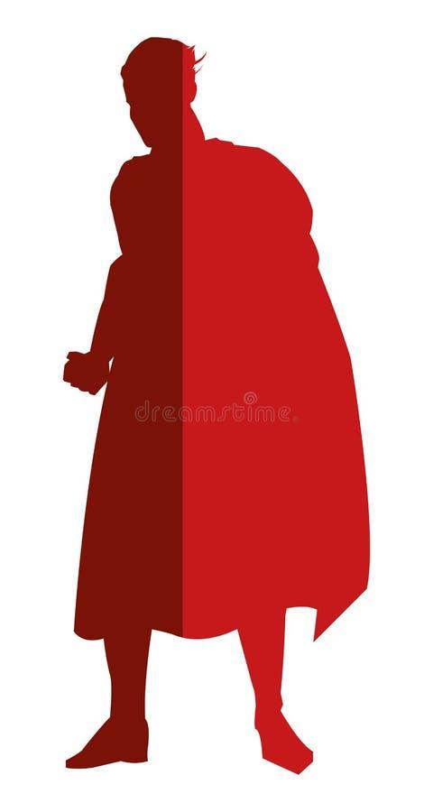Red superheroe posing silhouette. Simple flat design red superheroe posing silhouette illustration stock illustration