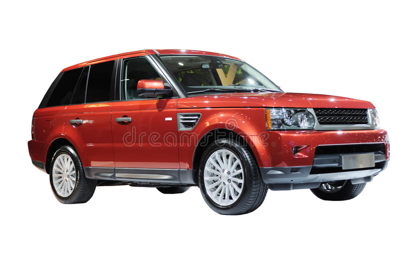 Red suv. Range rover on the white background stock image