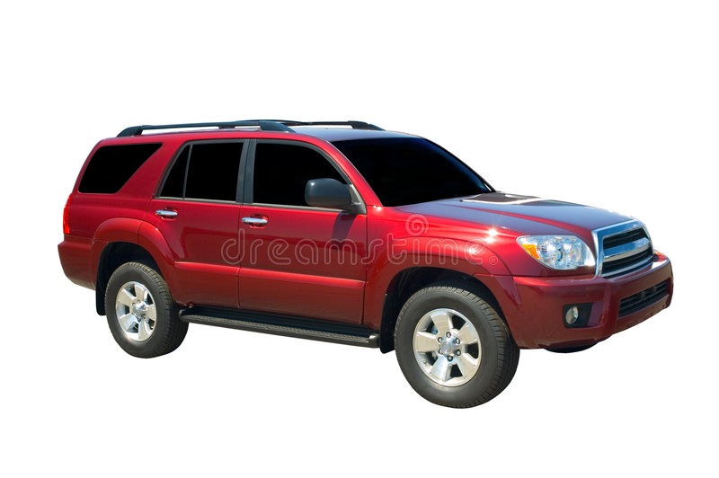 Red SUV. Isolated on white