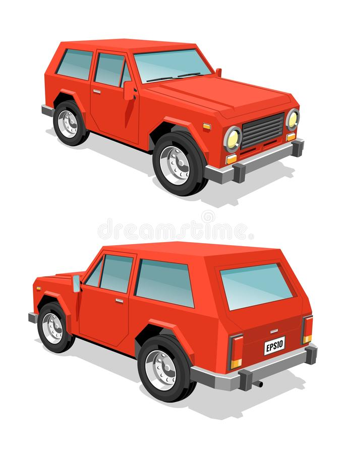 Red SUV car front and rear view stock illustration