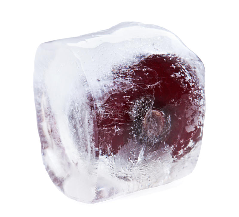 Red sweet cherry inside of melting ice cube stock photos