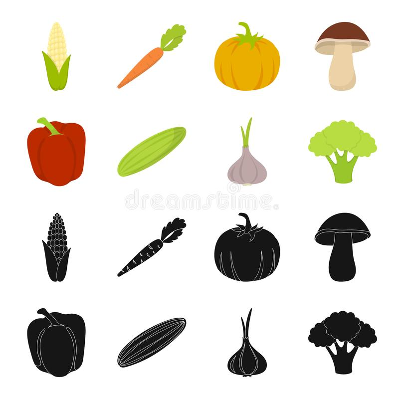 Red sweet pepper, green cucumber, garlic, cabbage. Vegetables set collection icons in black,cartoon style vector symbol. Stock illustration stock illustration