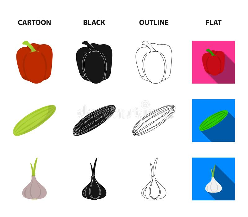 Red sweet pepper, green cucumber, garlic, cabbage. Vegetables set collection icons in cartoon,black,outline,flat style. Vector symbol stock illustration stock illustration