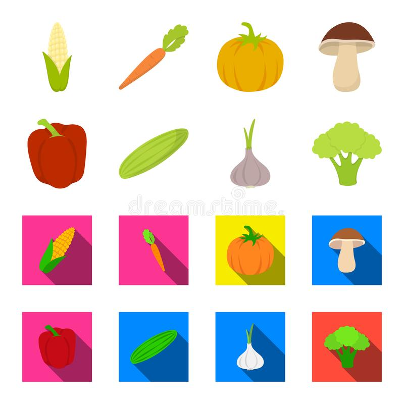 Red sweet pepper, green cucumber, garlic, cabbage. Vegetables set collection icons in cartoon,flat style vector symbol. Stock illustration royalty free illustration