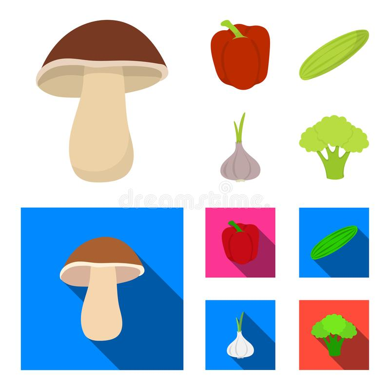 Red sweet pepper, green cucumber, garlic, cabbage. Vegetables set collection icons in cartoon,flat style vector symbol. Stock illustration stock illustration