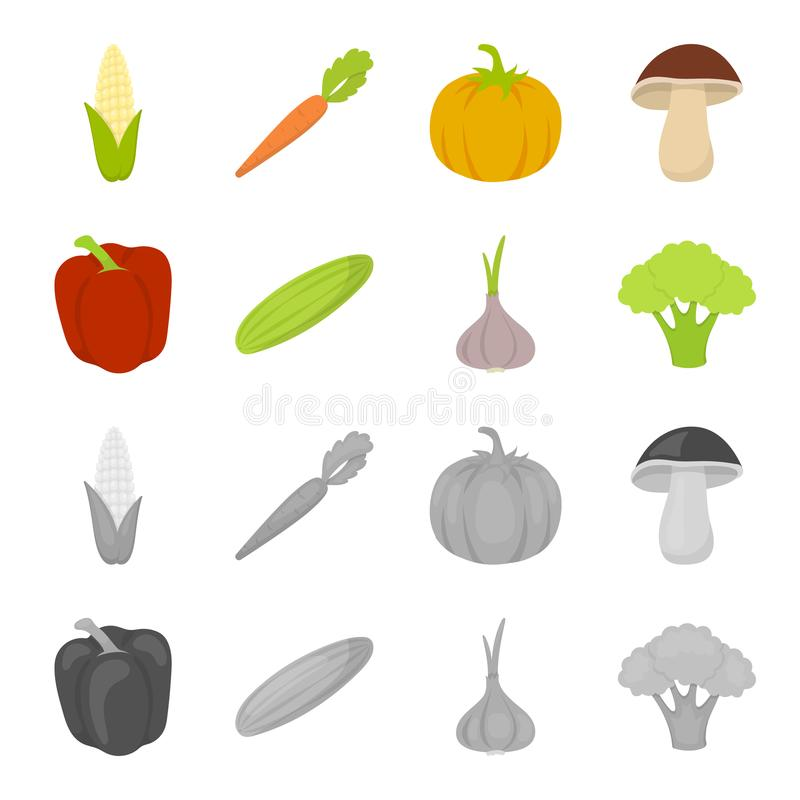 Red sweet pepper, green cucumber, garlic, cabbage. Vegetables set collection icons in cartoon,monochrome style vector. Symbol stock illustration royalty free illustration