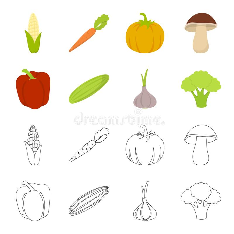 Red sweet pepper, green cucumber, garlic, cabbage. Vegetables set collection icons in cartoon,outline style vector. Symbol stock illustration stock illustration