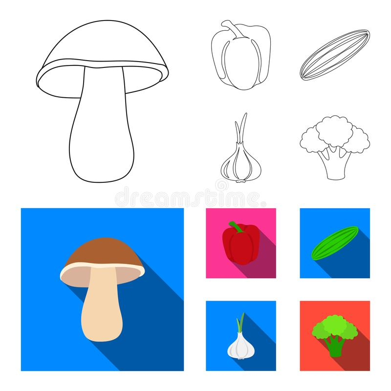 Red sweet pepper, green cucumber, garlic, cabbage. Vegetables set collection icons in outline, flat style vector symbol. Stock illustration royalty free illustration