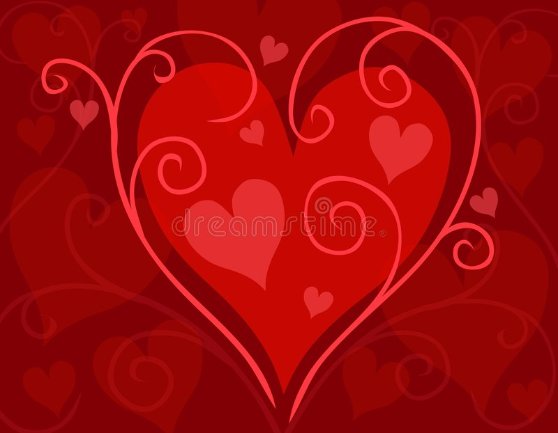 Red Swirling Valentine's Day Heart Card vector illustration