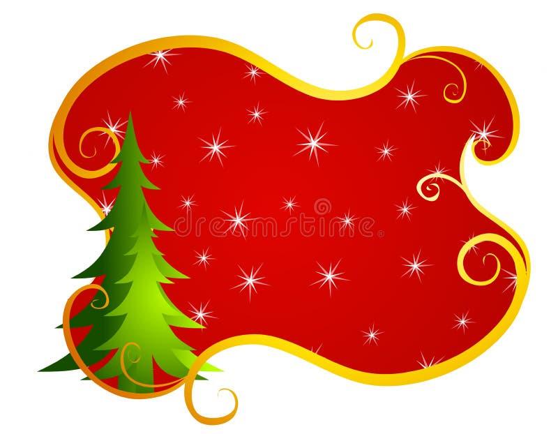 Red Swirls Christmas Tree Background stock photo