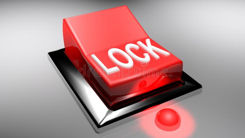 LOCK red switch on - 3D rendering stock illustration