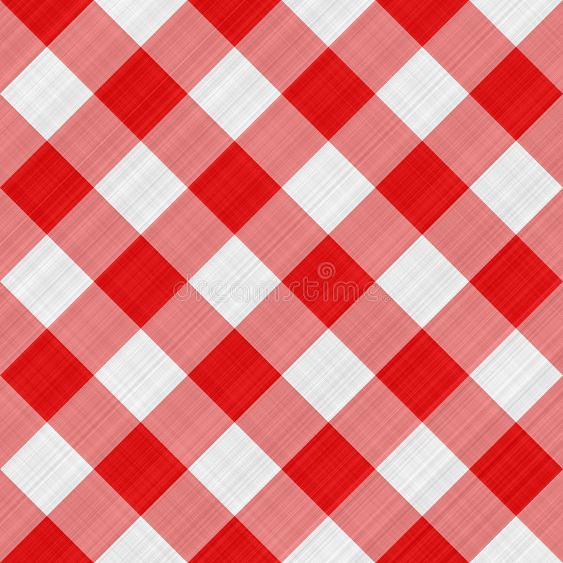 Red table cloth. Seamless texture of red and white blocked tartan cloth royalty free illustration
