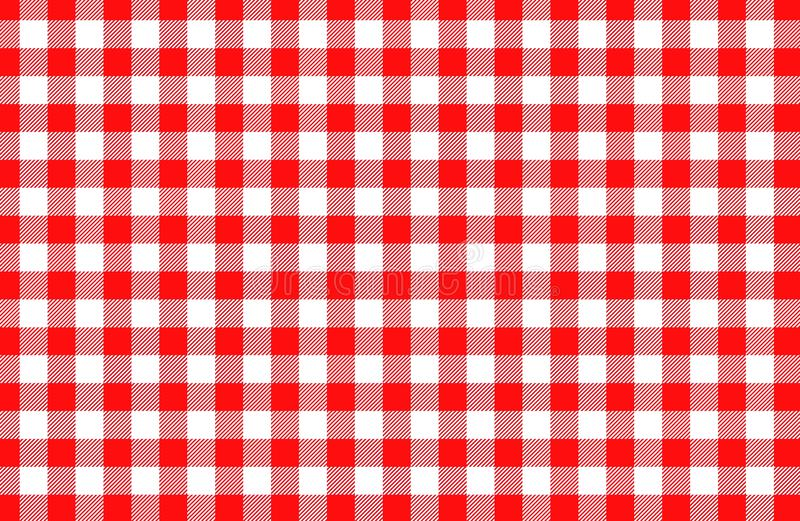 Red table cloth background seamless pattern. Illustration design. Dress, shirt, skirt, tartsn, gingham, checks, line, cross, british, creation, graphic royalty free stock images
