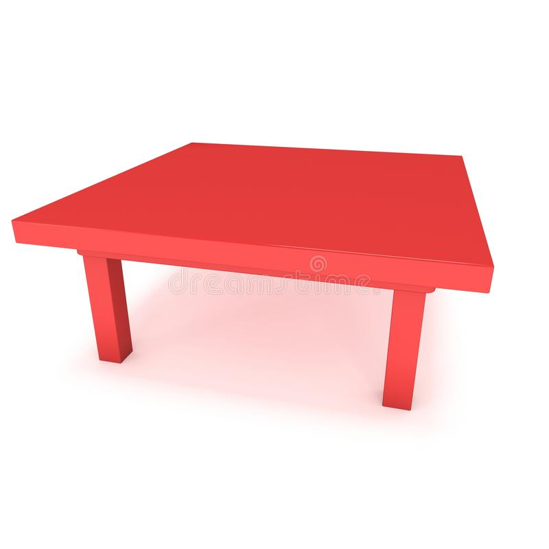 Red Table 3D. Red Table. 3D render isolated on white. Platform or Stand Illustration. Template for Object Presentation stock illustration