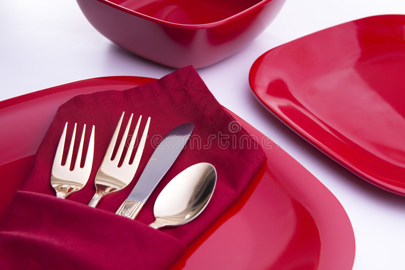 Download Red Table Setting stock photo. Image of fork, dinner, gold - 7695558