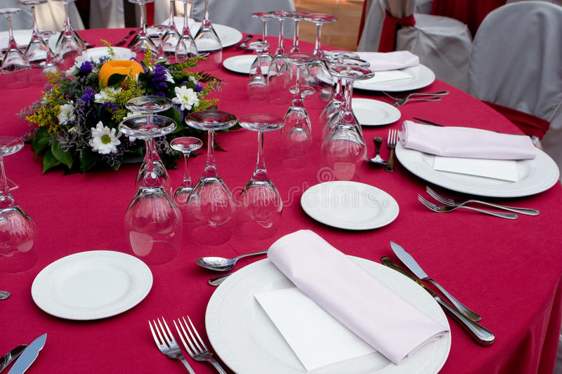 Red Table Setting stock photo